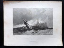 After Bentley & Allen 1840 Antique Print. Gibraltar, from the Sea